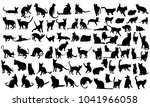 Stock vector  silhouette of a cat set 1041966058