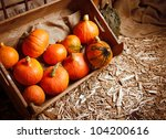 Pumpkins In A Crate On A Straw...