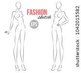 woman's figure sketch....   Shutterstock .eps vector #1042015582
