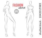 woman's figure sketch.... | Shutterstock .eps vector #1042015585