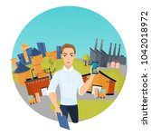 worker and the concept of the... | Shutterstock .eps vector #1042018972