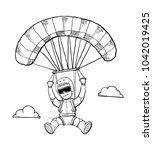 skydiving fun doodle | Shutterstock .eps vector #1042019425