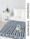 grey knitted woolen merino... | Shutterstock . vector #1042029622