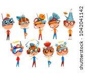 scientist children working on... | Shutterstock .eps vector #1042041142
