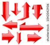 arrows. set of red shiny icons. ...   Shutterstock . vector #1042042936