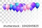 realistic helium balloons... | Shutterstock .eps vector #1042045825