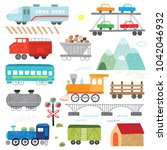 hand drawn kids doodle train... | Shutterstock .eps vector #1042046932