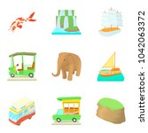 worldwide trip icons set.... | Shutterstock .eps vector #1042063372