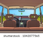 empty sedan car on a road with... | Shutterstock .eps vector #1042077565