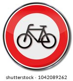 prohibition for bikes and... | Shutterstock . vector #1042089262