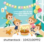 illustration with birthday... | Shutterstock .eps vector #1042100992