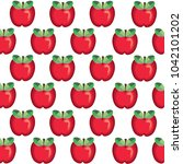 red apples vector pattern | Shutterstock .eps vector #1042101202