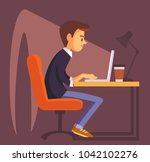 office worker with laptop | Shutterstock .eps vector #1042102276