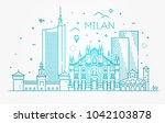 linear banner of milan city | Shutterstock .eps vector #1042103878