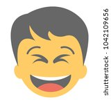 a laughing expression shown via ... | Shutterstock .eps vector #1042109656