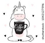 vector cartoon sketch unicorn... | Shutterstock .eps vector #1042127596