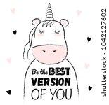 vector cartoon sketch unicorn... | Shutterstock .eps vector #1042127602