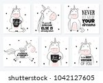 Stock vector vector cartoon sketch unicorn illustration with motivation lettering phrase perfect for postcard 1042127605