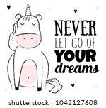 vector cartoon sketch unicorn... | Shutterstock .eps vector #1042127608