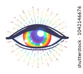 rainbow colored eye. flag of... | Shutterstock .eps vector #1042146676