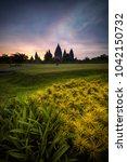 beautiful sunset from prambanan ... | Shutterstock . vector #1042150732