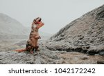 man with dinosaur costume in a... | Shutterstock . vector #1042172242
