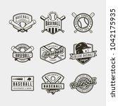 set of vintage baseball logos.... | Shutterstock .eps vector #1042175935