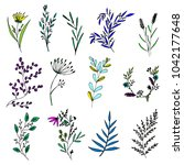 set of hand drawn floral... | Shutterstock .eps vector #1042177648