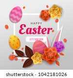 happy easter elegant card day... | Shutterstock .eps vector #1042181026