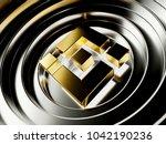 golden binance coin... | Shutterstock . vector #1042190236