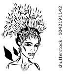 elf girl  black and white... | Shutterstock .eps vector #1042191142