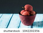 bowl and litchi  | Shutterstock . vector #1042202356