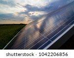 solar panels closeup on sunset... | Shutterstock . vector #1042206856