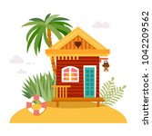 beach houses collection.... | Shutterstock .eps vector #1042209562