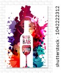 wine list template for bar or... | Shutterstock .eps vector #1042222312