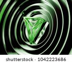 green tron crypto currency... | Shutterstock . vector #1042223686