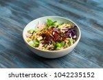 hawaiian ahi tuna poke bowl...   Shutterstock . vector #1042235152