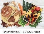high fibre healthy food concept ... | Shutterstock . vector #1042237885