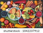 health food for a healthy heart ... | Shutterstock . vector #1042237912