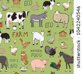farm animals seamless pattern | Shutterstock . vector #1042240546