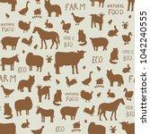 farm animals seamless pattern | Shutterstock . vector #1042240555