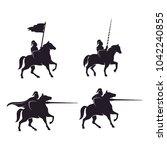 horseback knight logo design... | Shutterstock .eps vector #1042240855