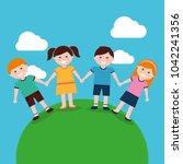 happy kids cartoon | Shutterstock .eps vector #1042241356