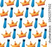 crown and necktie accessory...   Shutterstock .eps vector #1042257502