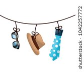 classic hat necktie and glasses ...   Shutterstock .eps vector #1042257772