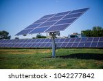 the solar panel is on the... | Shutterstock . vector #1042277842