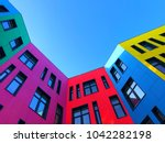 multi colored facades of the... | Shutterstock . vector #1042282198