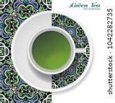 cup of green tea with doodle... | Shutterstock .eps vector #1042282735