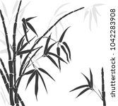 bamboo. vector black and grey... | Shutterstock .eps vector #1042283908