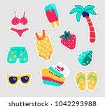 summer stickers set. fun... | Shutterstock .eps vector #1042293988